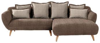 WOHNLANDSCHAFT in Textil Dunkelbraun, Hellbraun  - Hellbraun/Dunkelbraun, Design, Holz/Textil (280/175cm) - Carryhome