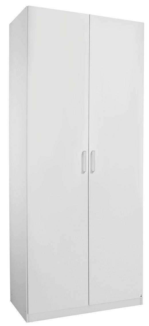 DREHTÜRENSCHRANK 2  -türig Weiß - Alufarben/Weiß, Design, Holzwerkstoff/Metall (91/222/60cm) - HOM`IN