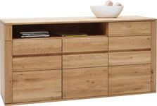 SIDEBOARD Wildeiche massiv geölt - Eichefarben/Schwarz, Design, Holz/Kunststoff (172/86/47cm) - Valnatura