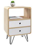 NOČNÍ STOLEK, šedá, černá, bílá, barvy dubu - šedá/bílá, Design, kov/kompozitní dřevo (45/65/29,5cm) - Carryhome