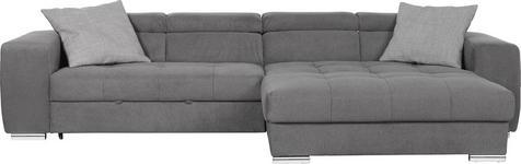 WOHNLANDSCHAFT in Grau Textil - Chromfarben/Silberfarben, Design, Kunststoff/Textil (329/186cm) - Hom`in
