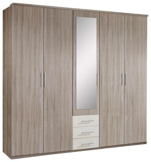 KLEIDERSCHRANK 5-türig Eichefarben, Weiß - Eichefarben/Alufarben, KONVENTIONELL, Glas/Holzwerkstoff (225/210/58cm) - Carryhome