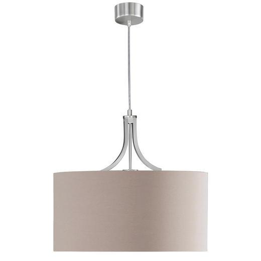 HÄNGELEUCHTE - Braun/Nickelfarben, KONVENTIONELL, Textil/Metall (45/42cm)