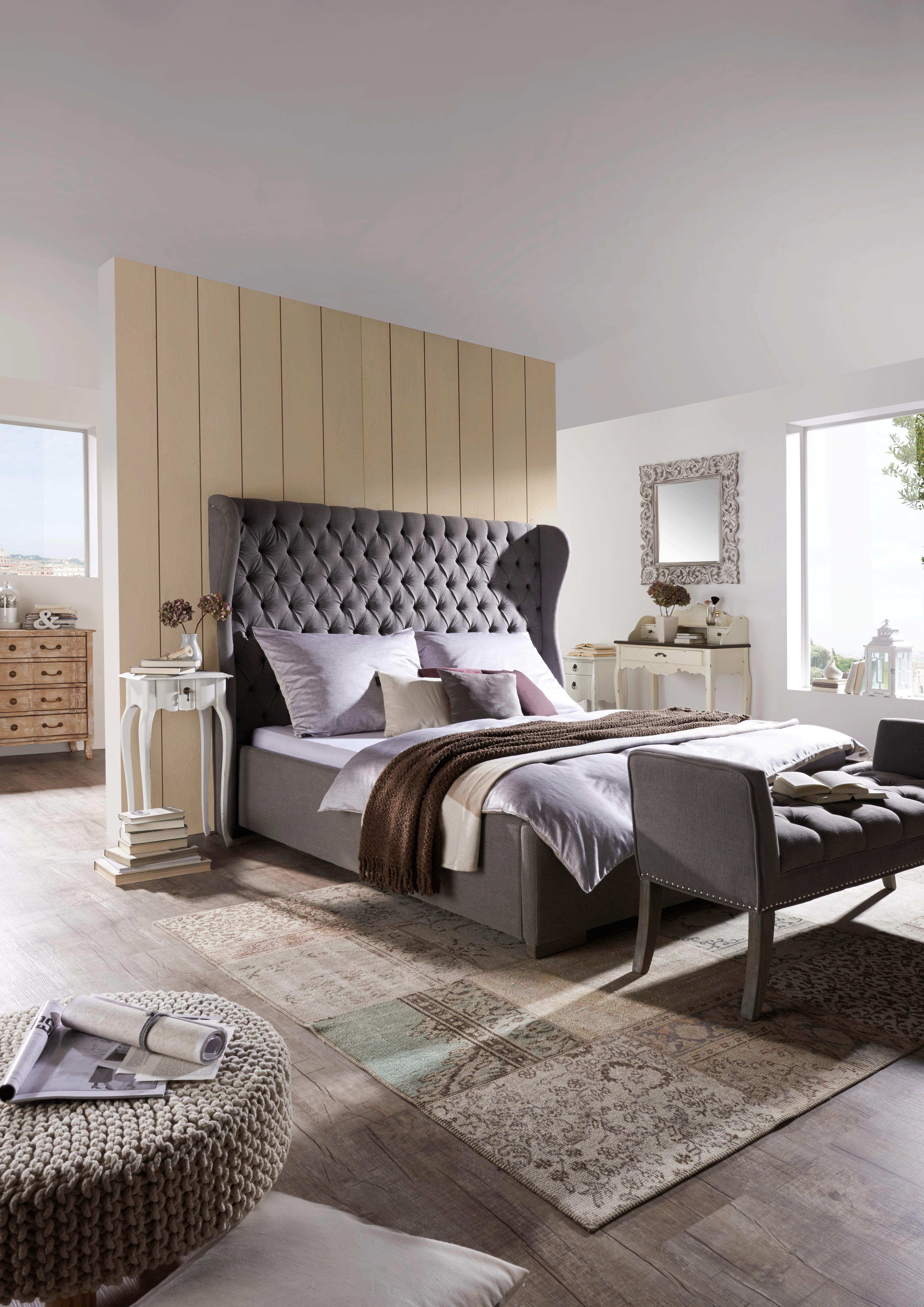 Sängram - grå, Trend, textil (180/200cm) - Ambia Home