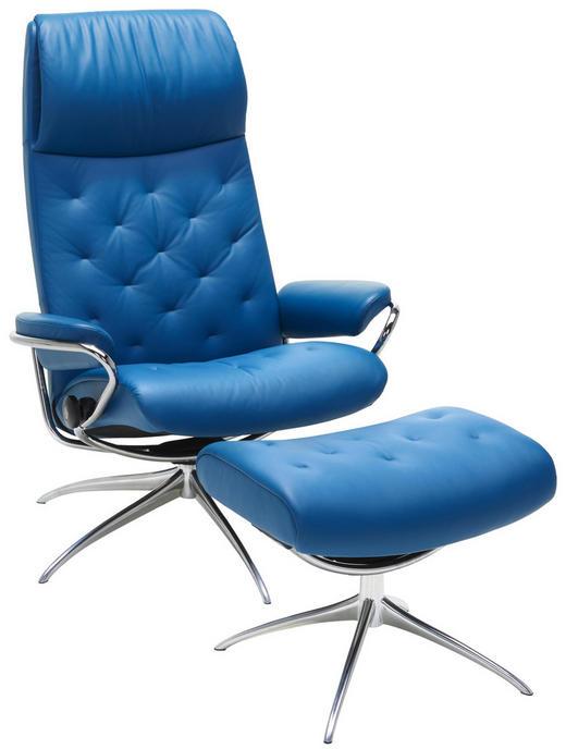 RELAXSESSELSET in Leder Blau - Chromfarben/Blau, Design, Leder/Metall (80/112/71cm) - Stressless