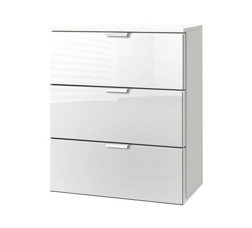 KOMMODE Weiß  - Alufarben/Weiß, KONVENTIONELL, Glas/Metall (50/61/42cm) - Carryhome