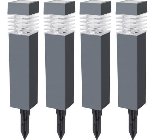 Solarleuchte 4er Set - Dunkelgrau/Transparent, KONVENTIONELL, Kunststoff (5,8/38,5/5,8cm) - Boxxx