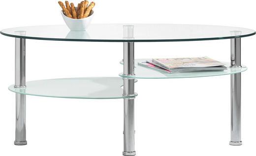 COUCHTISCH oval Edelstahlfarben, Klar, Weiß - Klar/Edelstahlfarben, Design, Glas/Metall (90/55/40cm) - CARRYHOME