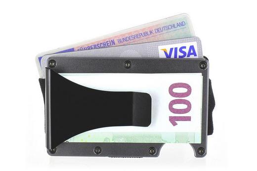 Kreditkartenhalter von SHOOT - Grau, Basics, Metall (6/9/2cm)