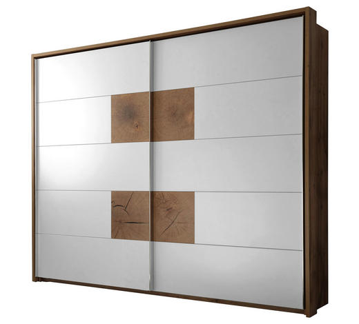 ORMAR S KLIZNIM VRATIMA - bijela/boje hrasta, Design, drvni materijal/metal (280/230/64cm) - Hom`in