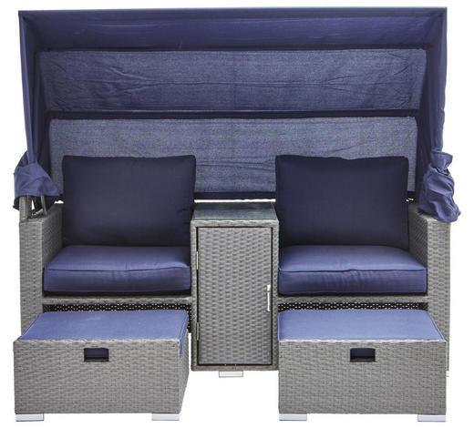 LOUNGE GARNITURA - siva/tamno plava, Moderno, staklo/metal (175/152(65)/80cm) - Ambia Garden