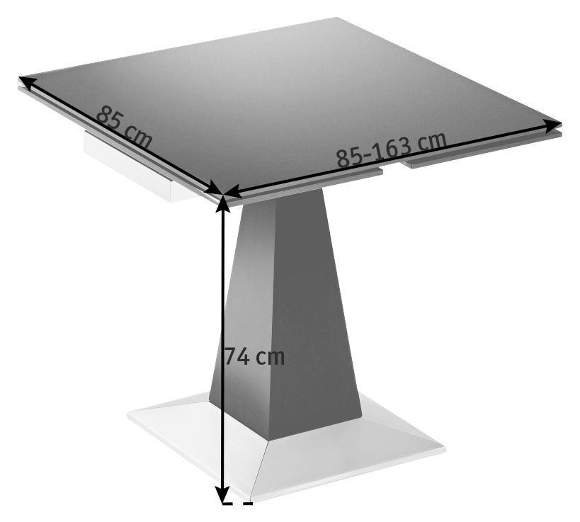 ESSTISCH Eiche furniert quadratisch Chromfarben, Dunkelbraun - Chromfarben/Dunkelbraun, Design, Holz/Metall (85(163)/85/74cm)