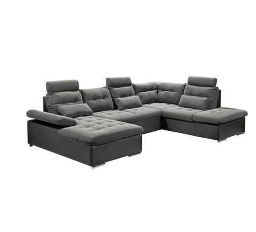 WOHNLANDSCHAFT Grau, Schwarz Webstoff  - Chromfarben/Schwarz, Design, Kunststoff/Textil (170/324/218cm) - Carryhome