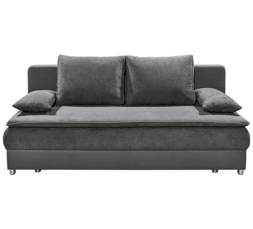 SCHLAFSOFA in Textil, Holzwerkstoff Grau, Dunkelgrau - Dunkelgrau/Silberfarben, KONVENTIONELL, Holzwerkstoff/Kunststoff (208/82/93cm) - Carryhome