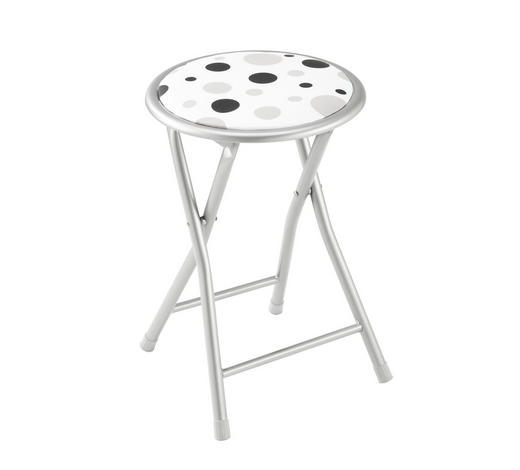 PREKLOPNI STOLAC - bijela/siva, Konvencionalno, metal/tekstil (30/45/30cm) - Carryhome