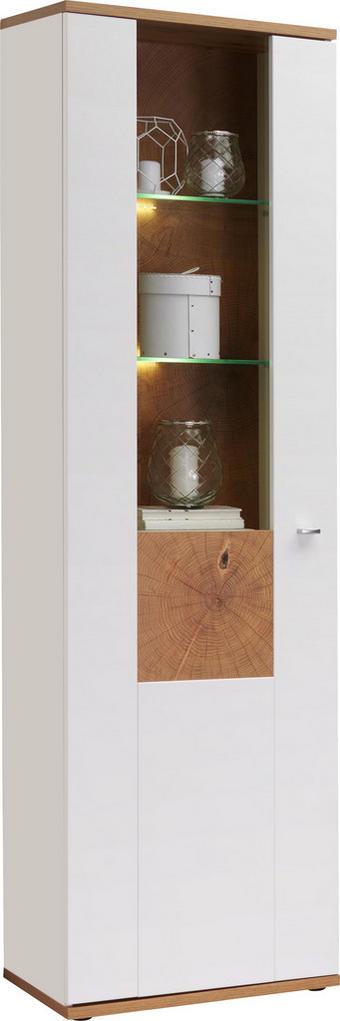 VITRÍNA, barvy dubu, bílá - bílá/barvy stříbra, Design, kov/dřevěný materiál (60/201/37cm) - Hom`in