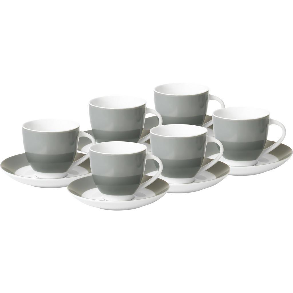 XXXLutz Tassenset 6-teilig keramik porzellan grau