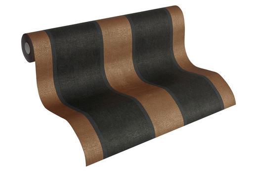 vliestapete gestreift 10,05 m - Schwarz/Bronzefarben, Basics, Textil (53/1005cm)