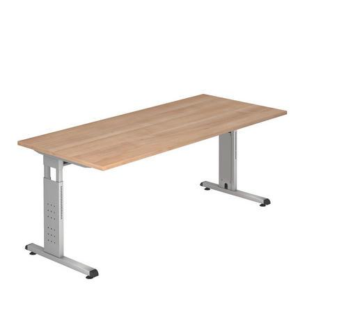 SCHREIBTISCH in Metall, Holzwerkstoff 180/65-85/80 cm  - Silberfarben/Nussbaumfarben, KONVENTIONELL, Holzwerkstoff/Metall (180/65-85/80cm)