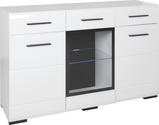 SIDEBOARD Glanz, Hochglanz, lackiert Weiß - Schwarz/Weiß, Basics, Glas/Holzwerkstoff (150/93/45cm) - Carryhome