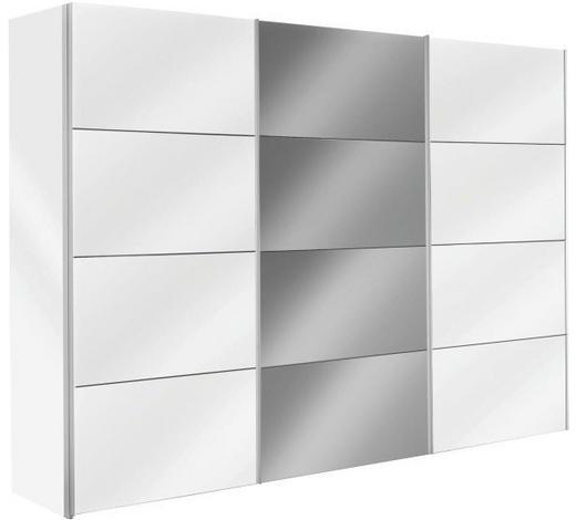 SCHWEBETÜRENSCHRANK 3-türig Weiß  - Alufarben/Weiß, Design, Glas/Holzwerkstoff (300/216/68cm) - Hom`in