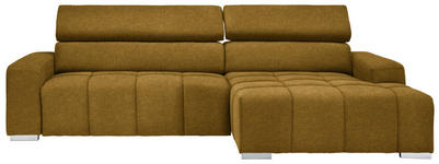 WOHNLANDSCHAFT in Textil Gelb  - Gelb/Silberfarben, KONVENTIONELL, Holz/Textil (290/170cm) - Hom`in