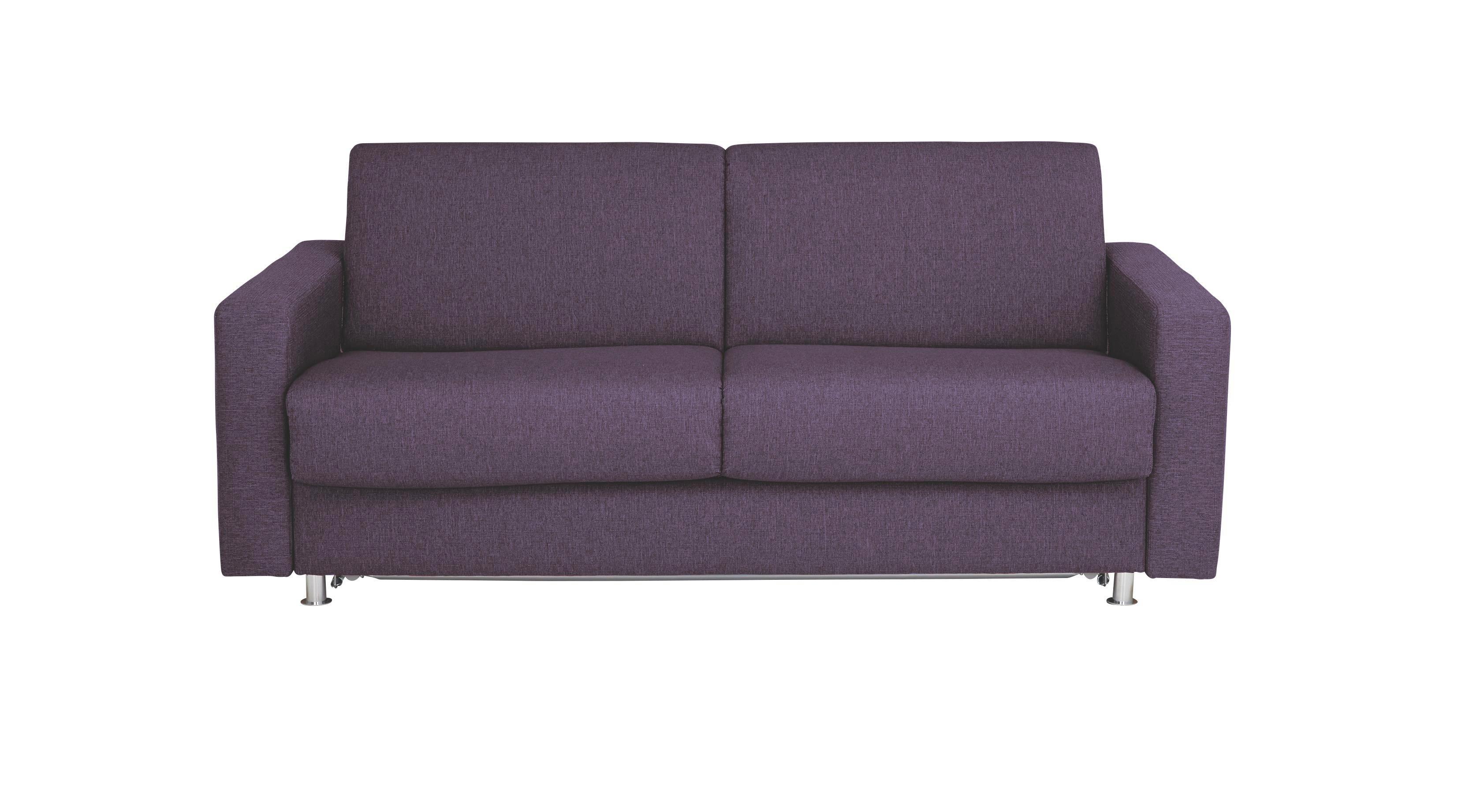 SCHLAFSOFA Flachgewebe Violett - Chromfarben/Violett, KONVENTIONELL, Textil/Metall (195/84/100cm)