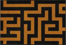 FUßMATTE 50/75 cm Graphik Dunkelgelb, Schwarz - Dunkelgelb/Schwarz, Basics, Kunststoff/Textil (50/75cm) - Esposa