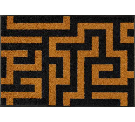 FUßMATTE 50/75 cm Graphik Schwarz, Dunkelgelb  - Dunkelgelb/Schwarz, Basics, Kunststoff/Textil (50/75cm) - Esposa