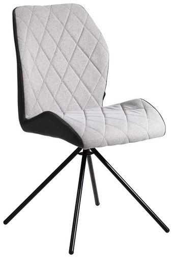 STUHL Lederlook, Mikrofaser Grau, Schwarz - Schwarz/Grau, Design, Textil/Metall (48/90/58cm) - Carryhome