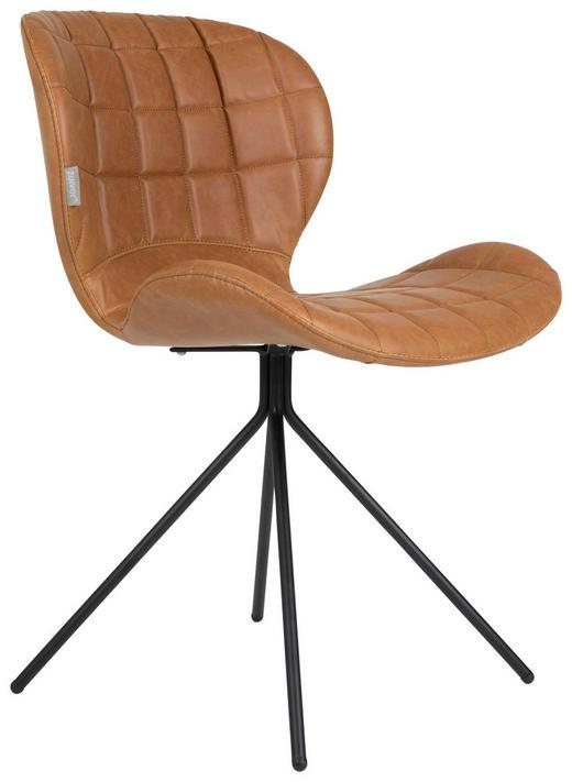 STUHL Lederlook Hellbraun - Hellbraun/Schwarz, Design, Textil/Metall (51/56/80cm)