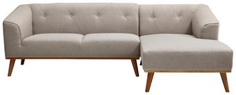 WOHNLANDSCHAFT - Hellgrau/Naturfarben, Design, Holz/Textil (242/154cm) - Carryhome