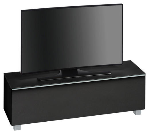 TV-ELEMENT Schwarz - Schwarz/Alufarben, Basics, Glas/Kunststoff (140,2/43,3/42cm)