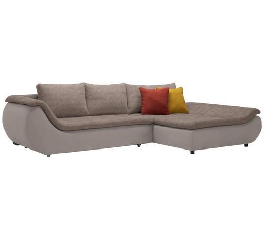 WOHNLANDSCHAFT in Textil Braun  - Schwarz/Braun, Design, Kunststoff/Textil (310/185cm) - Carryhome