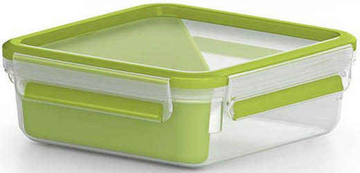 BROTZEITBOX 0,85 L - Transparent/Grün, Basics, Kunststoff (0,9l) - Emsa