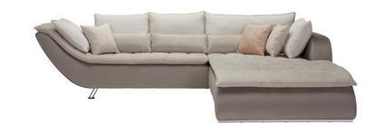 WOHNLANDSCHAFT Taupe, Beige Webstoff  - Taupe/Sandfarben, Design, Textil/Metall (300/220cm) - Hom`in