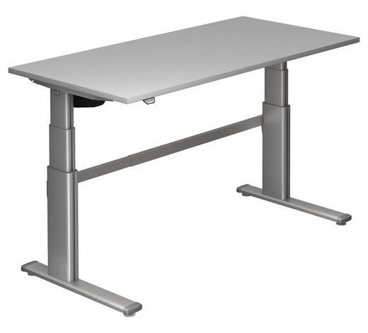 SCHREIBTISCH - Silberfarben/Grau, Design, Holzwerkstoff/Metall (160/66-130/80cm)
