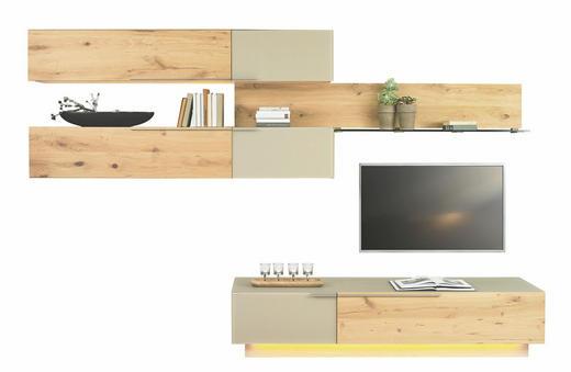 WOHNWAND Wildeiche mehrschichtige Massivholzplatte (Tischlerplatte) Eichefarben, Schlammfarben - Schlammfarben/Eichefarben, Design, Glas/Holz (320/202/23-54cm) - Voglauer