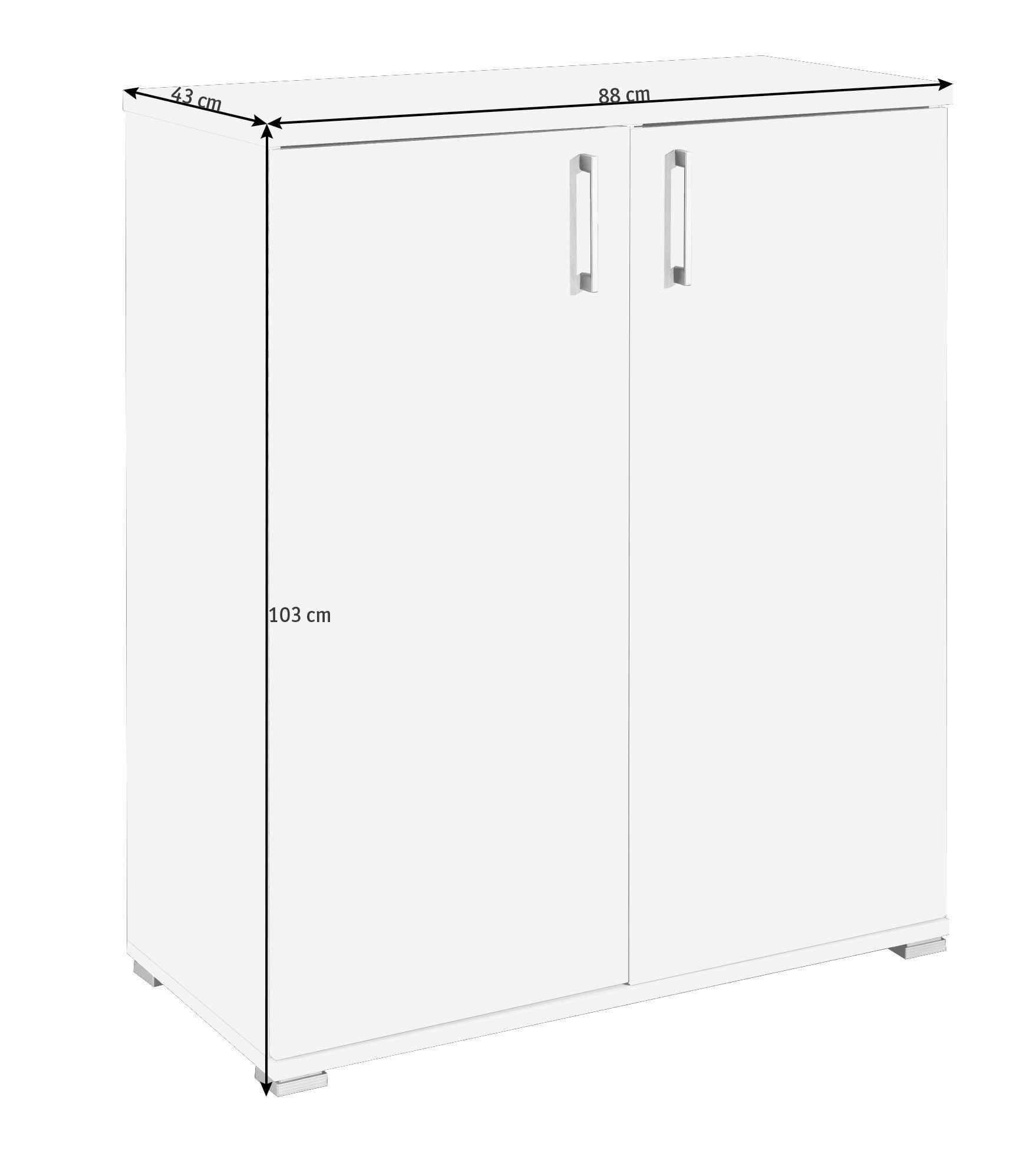 KOMMODE in Eichefarben - Eichefarben/Silberfarben, Design, Holzwerkstoff/Kunststoff (88/103/43cm) - CS SCHMAL