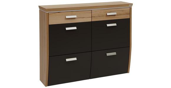 SCHUHSCHRANK 123/96/32 cm  - Dunkelbraun/Silberfarben, Design, Holz/Holzwerkstoff (123/96/32cm) - Dieter Knoll