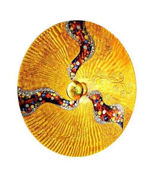 WANDLEUCHTE - Goldfarben, KONVENTIONELL, Glas/Metall (89cm)