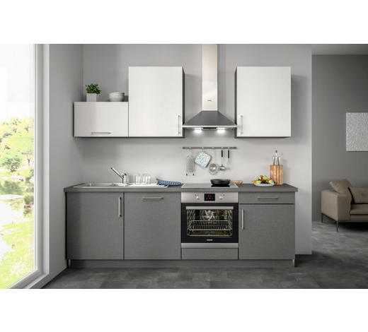 Küchenblock ohne E-Geräte Spüle, Soft-Close-System   - Weiß/Grau, Design (240,5cm) - SetOne by Musterring