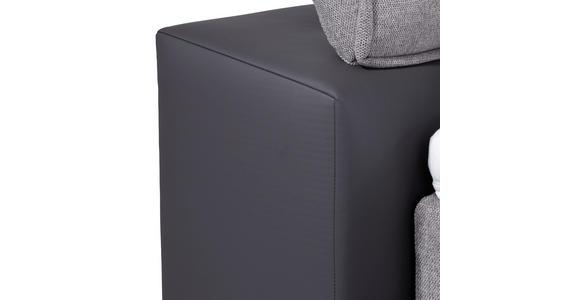 Boxspringbett mit Topper & Matratze H2 180x200cm Hampton - Anthrazit/Alufarben, KONVENTIONELL, Textil (180/200cm) - Luca Bessoni
