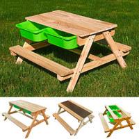 SAND- UND WASSERTISCH Holz Naturfarben - Naturfarben/Grün, Basics, Holz/Kunststoff (90/89/50cm)