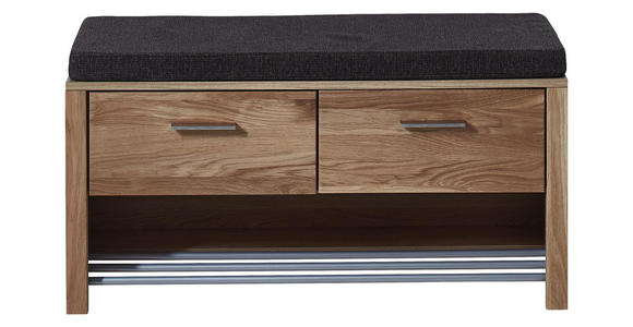GARDEROBENBANK 93/48/38 cm  - Edelstahlfarben/Eichefarben, Natur, Holz/Holzwerkstoff (93/48/38cm) - Voleo