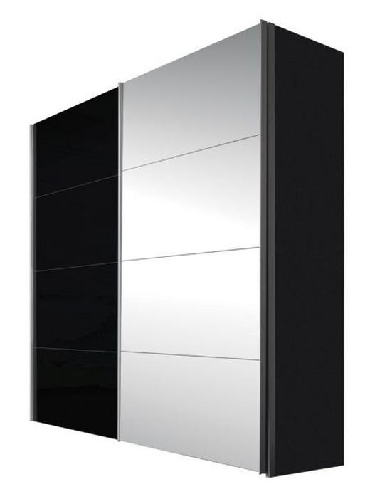 OMARA Z DRSNIMI VRATI, črna, grafit - aluminij/črna, Design, kovina/steklo (200/216/68cm) - HOM`IN