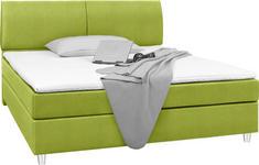 BOXSPRINGBETT 140 cm   x 200 cm   in Textil Grün - Chromfarben/Grün, Design, Kunststoff/Textil (140/200cm) - Hom`in