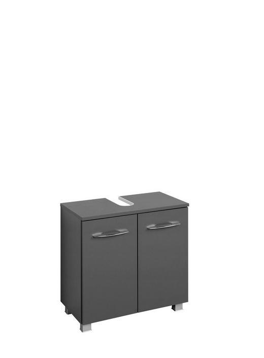 WASCHBECKENUNTERSCHRANK Graphitfarben - Chromfarben/Silberfarben, Design, Holzwerkstoff/Kunststoff (60/59/35cm) - Carryhome