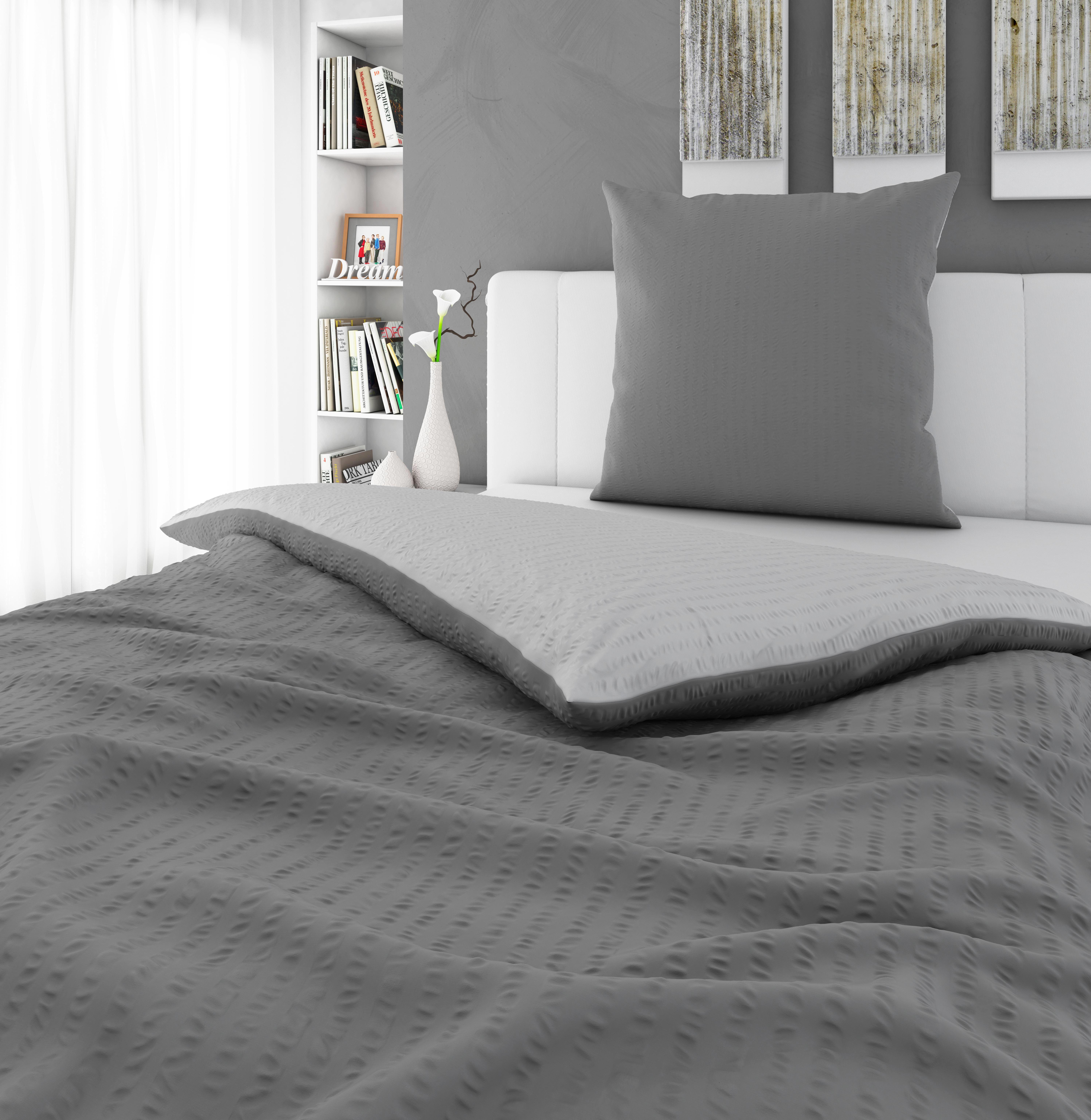 BETTWÄSCHE Seersucker Grau, Silberfarben 155/220 cm - Silberfarben/Grau, KONVENTIONELL, Textil (155/220cm) - NOVEL