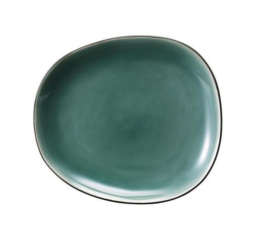 DESERTNI KROŽNIK - črna/zelena, Basics, keramika (20,4/3/18cm)